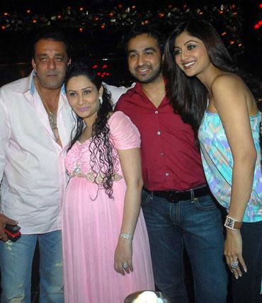 Sanjay Dutt, Manyata, Raj Kundra and Shilpa Shetty