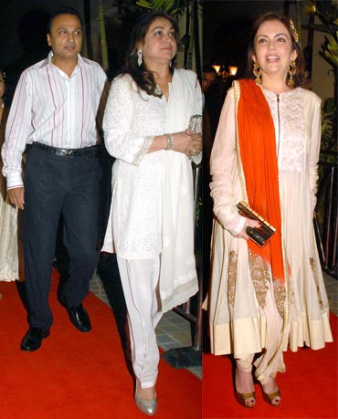 Anil, Tina and Nita Ambani