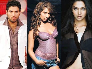 Yuvraj Singh and Kim Sharma/ Deepika Padukone