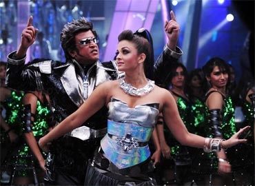 Rajnikanth and Aishwarya Rai Bachchan