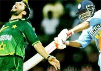 A morphed picture of Afridi being hit by an Indian batsman
