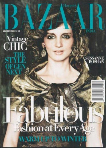 Sussanne Roshan on the cover of Bazaar