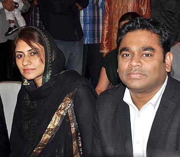 A R Rahman with his wife Saira