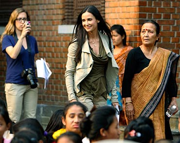 Demi Moore with Maiti Nepal Chairperson Anuradha Koirala