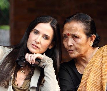Demi Moore with Anuradha Koirala