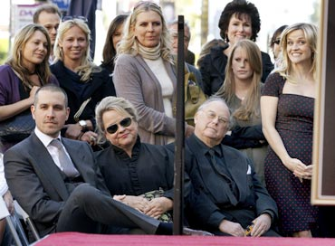 Jim Toth and Reese Witherspoon (far ends) with friends and family
