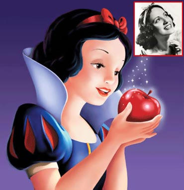 Snow White and Adriana Caselotti (inset)
