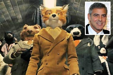 Mr Fox and George Clooney (inset)