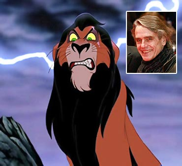 Scar and Jeremy Irons (inset)