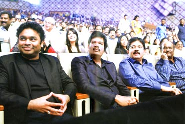 At the audio launch of Enthiran (Robot 2010) with director S Shankar, Kalanithi Maran and Rajnikanth