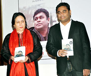 Nasreen Munni Kabir and A R Rahman at the launch of the book A R Rahman: The Spirit of Music