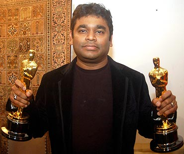 Rahman with his Oscars