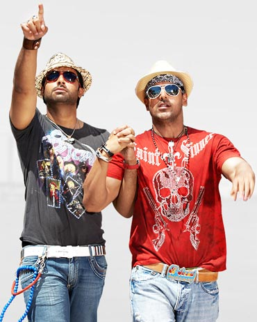 Abhishek Bachchan and John Abraham in Dostana