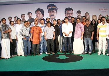 Kamal Haasan with the cast and crew of Traffic