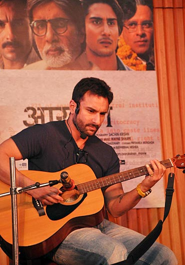 Saif Ali Khan strums the guitar