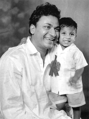 A young Shivarajkumar with his father, the legendary actor Rajkumar