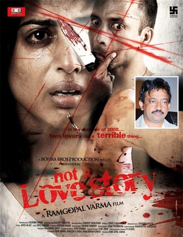 Movie poster of Not A Love Story, Ram Gopal Varma (inset)