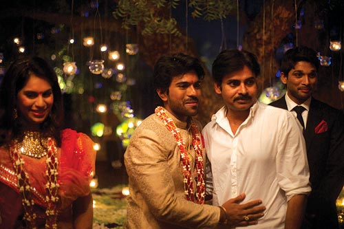 Upasna and Ram Charan with his uncle Pawan Kalyan and cousin Allu Arjun