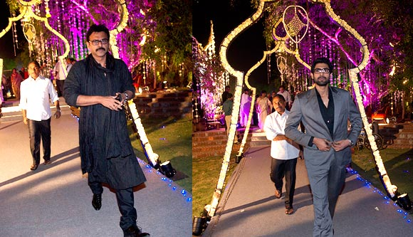 Venkatesh and Rana Daggubati arrive