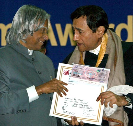 Former President A P J Abdul Kalam and Dev Anand