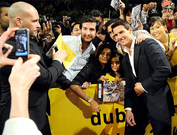 Tom Cruise with fans