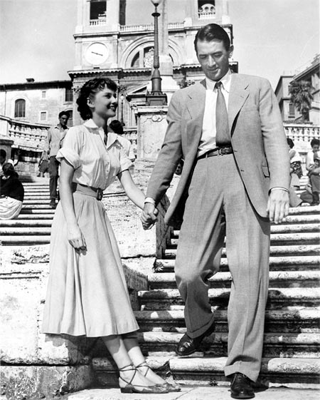 Gregory Peck and Audrey Hepburn in Roman Holiday