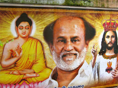 A poster of Rajnikanth with Buddha and Jesus