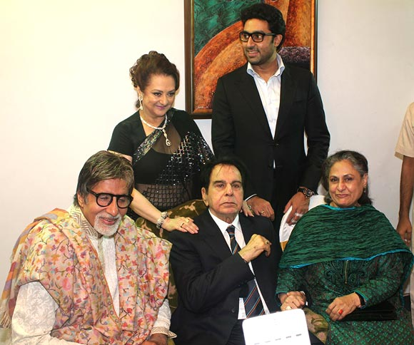 Amitabh Bachchan, Saira Banu, Abhishek Bachchan and Jaya Bachchan