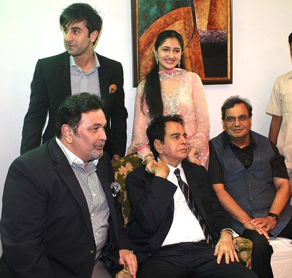 Rishi Kapoor, Ranbir Kapoor, Dilip Kumar and Subhash Ghai