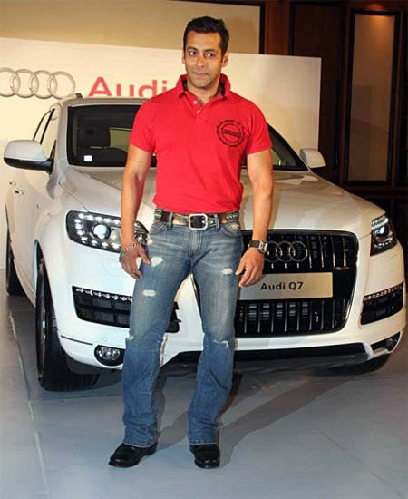 Salman Khan poses with the Audi Q7