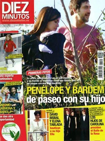 Penelope Cruz and husband Javier Bardem with son Leonardo Bardem