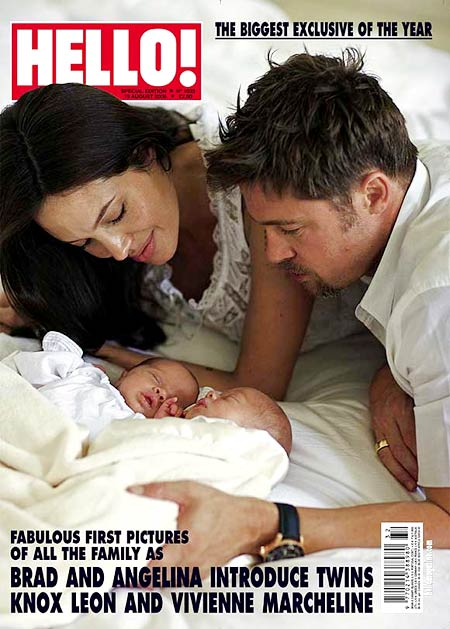 Angelina Jolie and Brad Pitt with their twins Vivienne and Knox