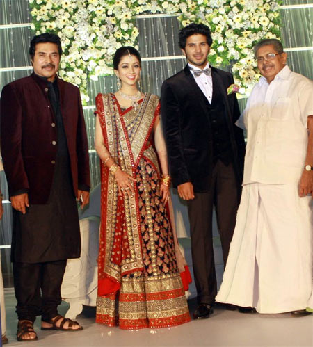 Pix Mammootty Holds Grand Wedding Reception For Son Rediff Movies
