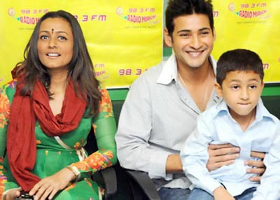 Namrata and  Mahesh Babu along with their son Gautam