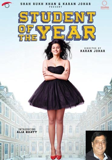 Movie poster of Student Of The Year. Inset: David Dhawan