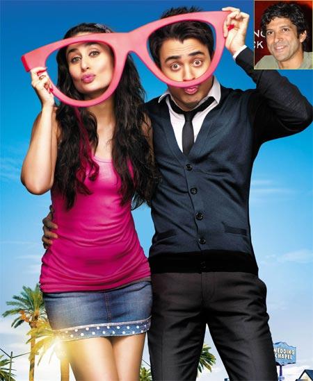 Kareena Kapoor and Imran Khan in Ek Main Aur Ek Tu. Inset: Farhan Akhtar