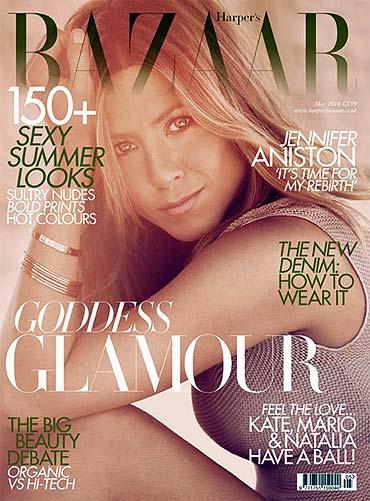 Jennifer Aniston on the cover of Harper's Bazaar