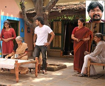 A scene from Jai Bolo Telangana. Inset: Director N. Shankar