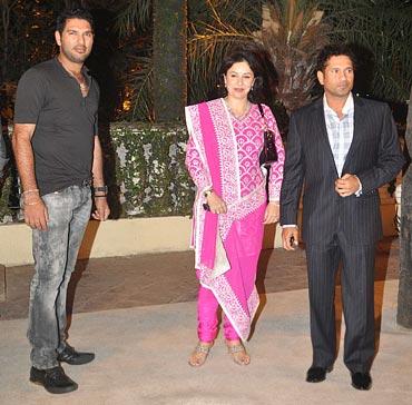 Yuvraj Singh, Sachin Tendulkar and Anjali