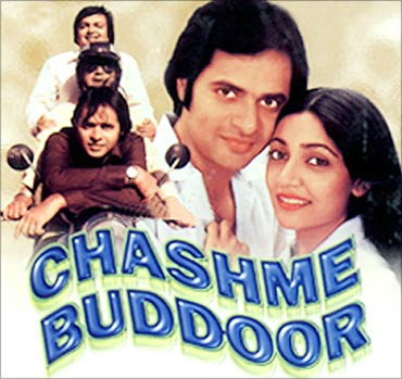 Rakesh Bedi, Ravi Baswani, Farooque Shaikh and Deepti Naval in the film poster of Chashm-e-Buddoor