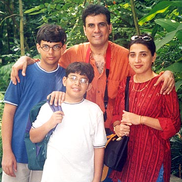 An old file photograph of Boman Irani with his family