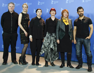 Members of the jury (left to right) Guy Maddin, Nina Hoss, Isabella Rossellini, Sandy Powell, Jan Chapman and Aamir Khan pose during a photocall