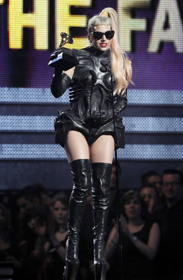 Lady Gaga accepts her award for Best Pop Vocal Album for The Fame Monster