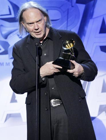 Neil Young accepts his award for Best Rock Song for Angry World