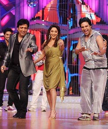 Govinda, Madhuri and Krushna Abhishek