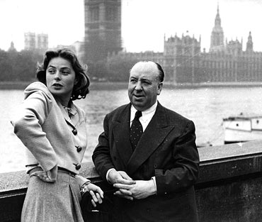 Swedish actress Ingrid Bergman takes a last fond look at the sights of London in the company of Alfred Hitchcock