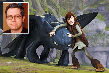 A scene from How to Train A Dragon, inset John Powell