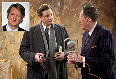 A scene from The King's Speech. Inset: Tom Hooper