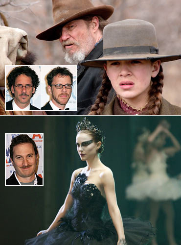 A scene from True Grit. Inset: Joel and Ethan Coen. A scene from Black Swan. Inset: Darren Aronofsky