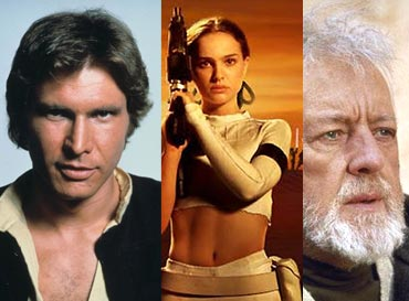 Harrison Ford, Natalie Portman and Alec Guinness in Star Wars